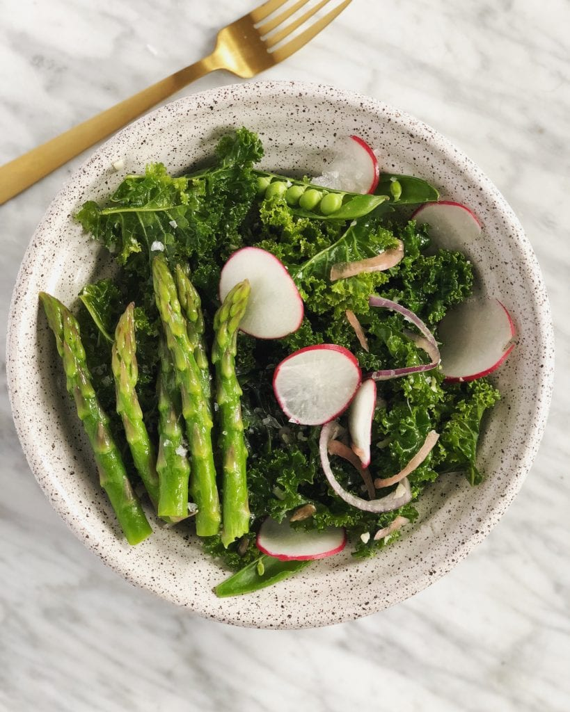salad with kale, asparagus, radish