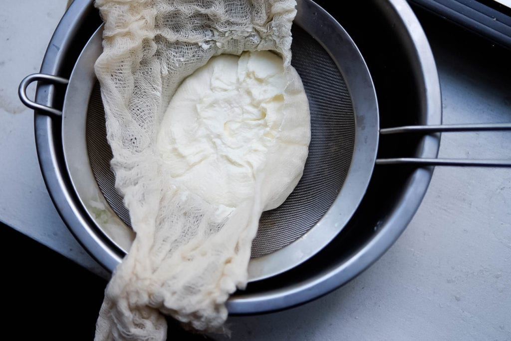 Recipe for making labneh, homemade strained yogurt