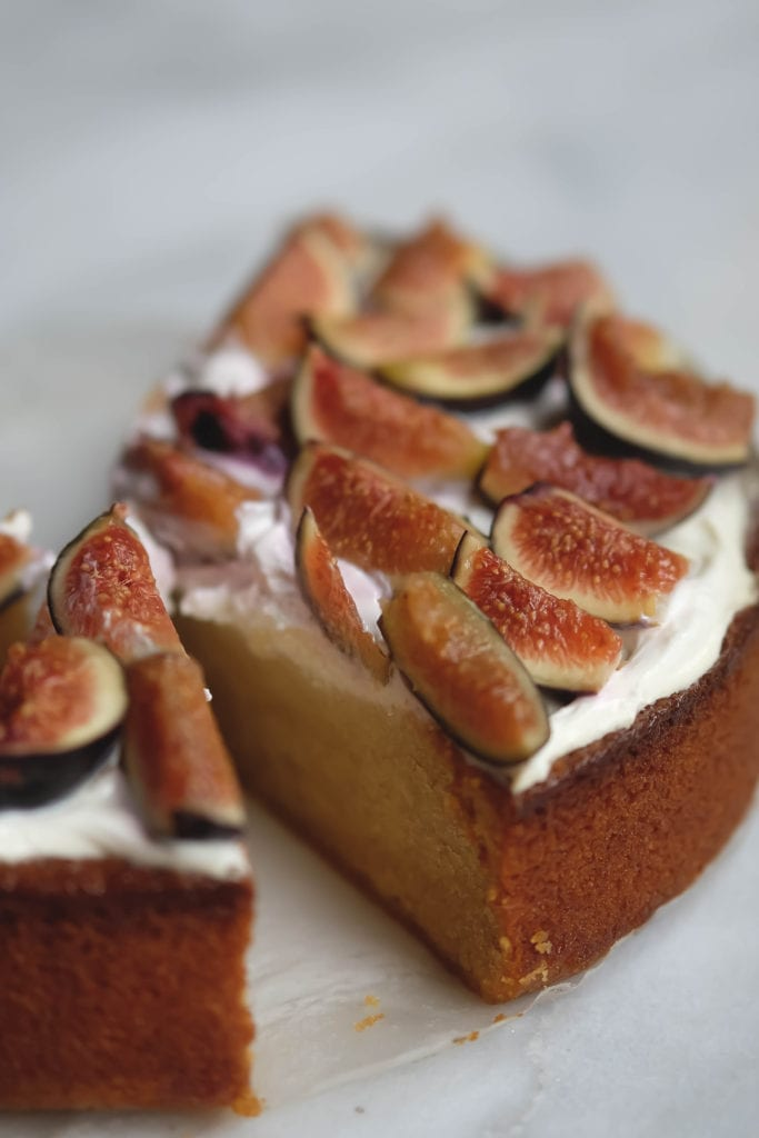 olive oil cake with figs and labne