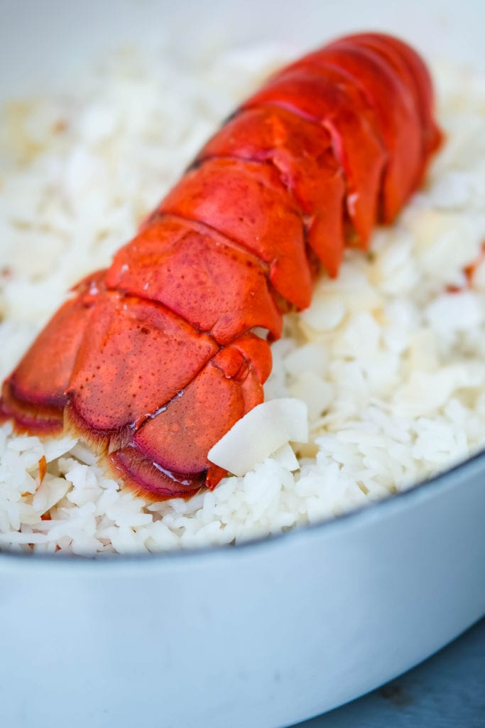 Recipe for coconut rice with lobster