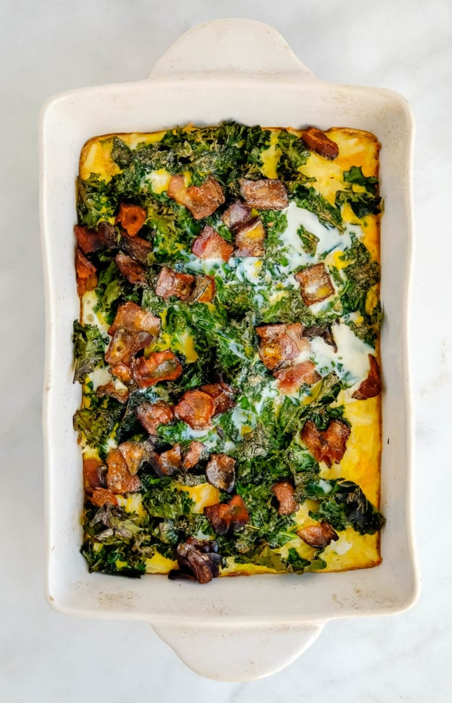 bacon, kale and hashbrown egg bake (whole30, paleo, meal prep)