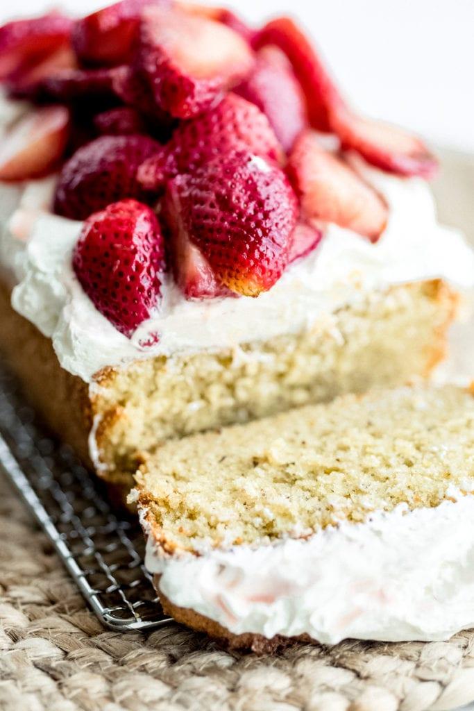 Orange-olive oil cake with Greek yogurt-whipped cream and strawberries