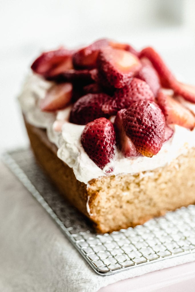Orange-olive oil cake with Greek yogurt-whipped cream and strawberries