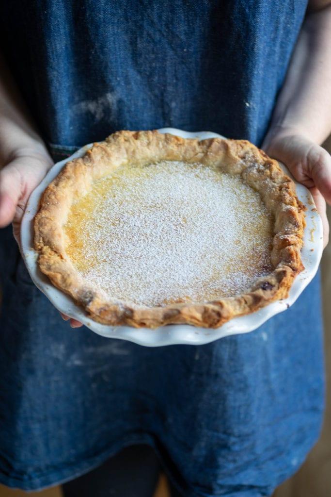 olive oil + meyer lemon blender pie