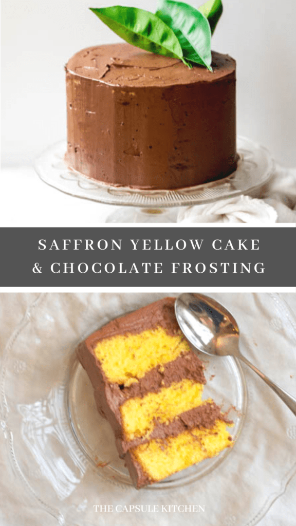 saffron yellow cake & chocolate frosting