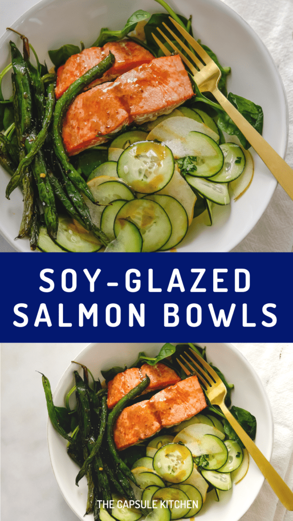 soy-ginger glazed salmon and green beans